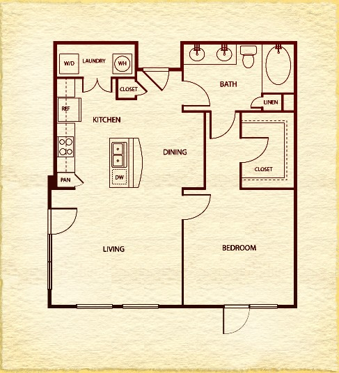 768 sq. ft. to 1,005 sq. ft. A3 floor plan