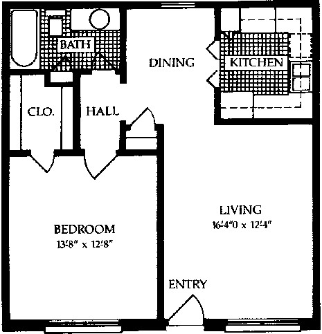 660 sq. ft. C floor plan