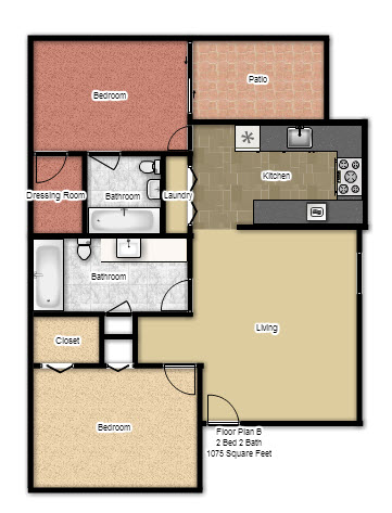1,075 sq. ft. B floor plan