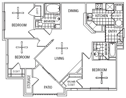 1,096 sq. ft. 50% floor plan