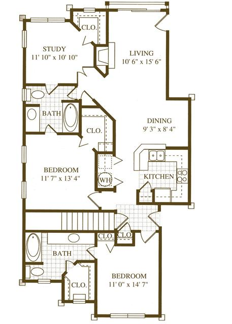 1,265 sq. ft. B4 floor plan