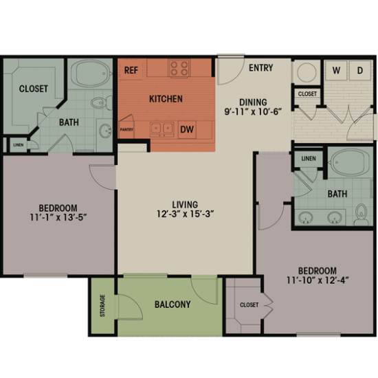 1,165 sq. ft. D floor plan