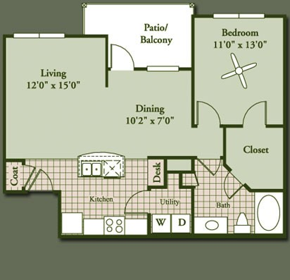 800 sq. ft. to 846 sq. ft. BERYL floor plan