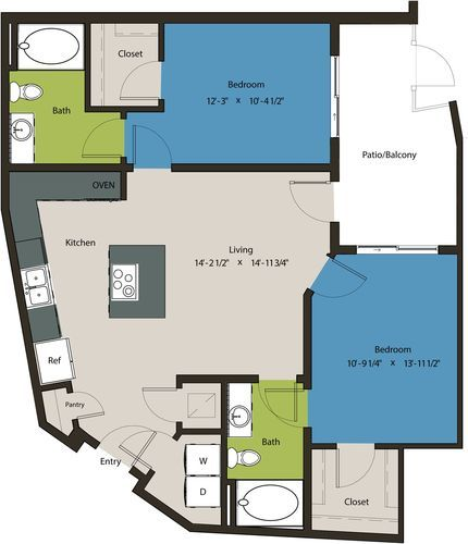 1,012 sq. ft. B6A floor plan