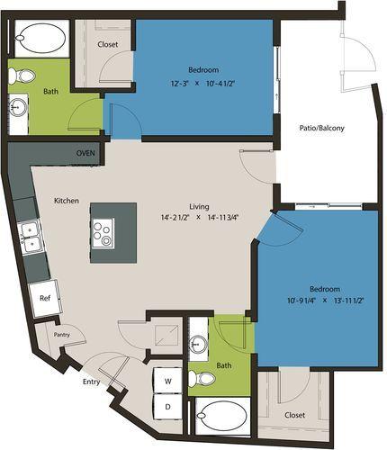 1,012 sq. ft. B6A floor plan