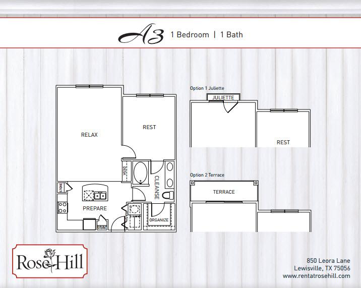 834 sq. ft. to 901 sq. ft. A3/A3P/A3T/A3TP/A3J floor plan