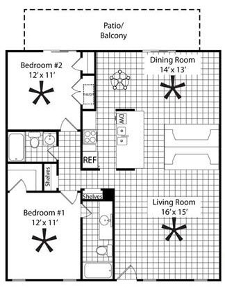 1,120 sq. ft. B3B floor plan
