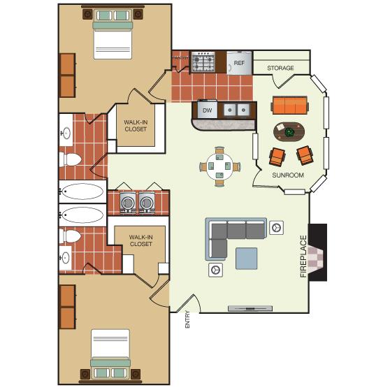1,038 sq. ft. 2I floor plan