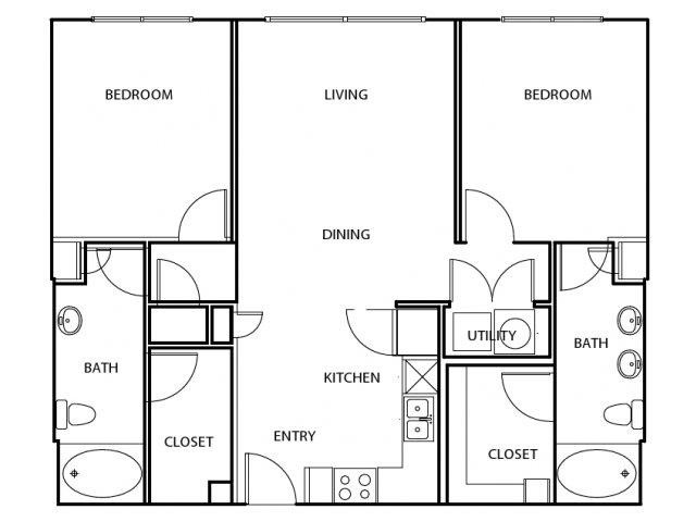 1,053 sq. ft. B1-C-HC floor plan