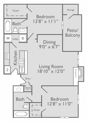 975 sq. ft. B3 floor plan