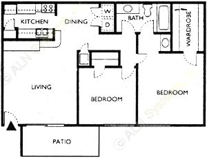 782 sq. ft. RAYBURN floor plan