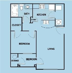625 sq. ft. AL floor plan