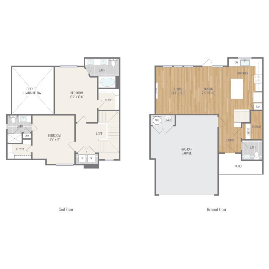 1,373 sq. ft. TH2 floor plan