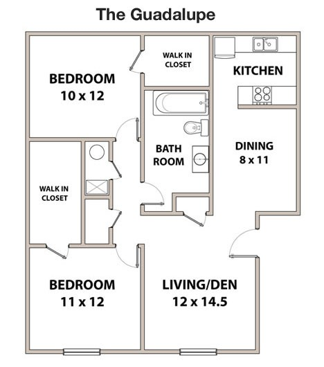 835 sq. ft. GUADALUPE floor plan