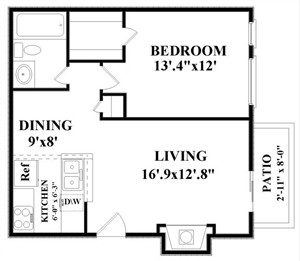 660 sq. ft. B2 floor plan