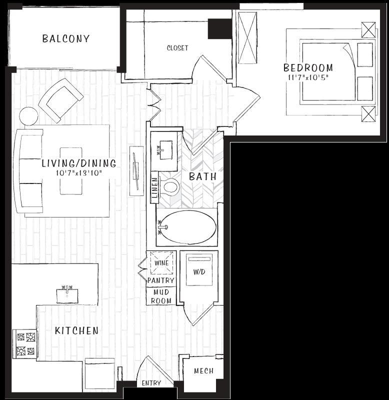 719 sq. ft. A2 floor plan