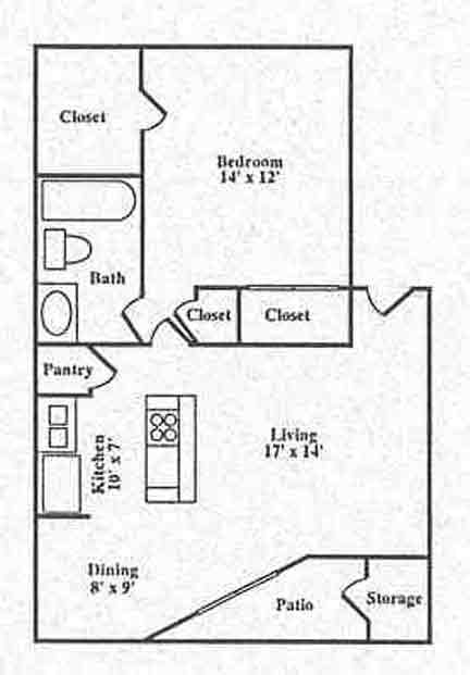778 sq. ft. A1 floor plan