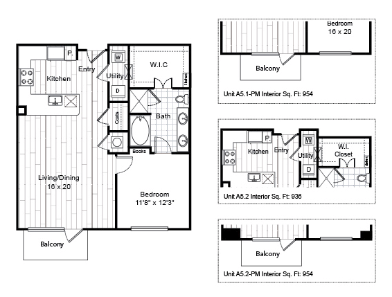 849 sq. ft. to 892 sq. ft. A5.1 floor plan