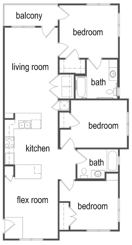 1,250 sq. ft. C1/60% floor plan
