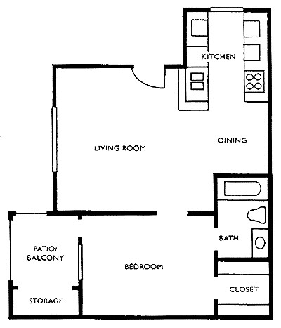 548 sq. ft. B1 floor plan