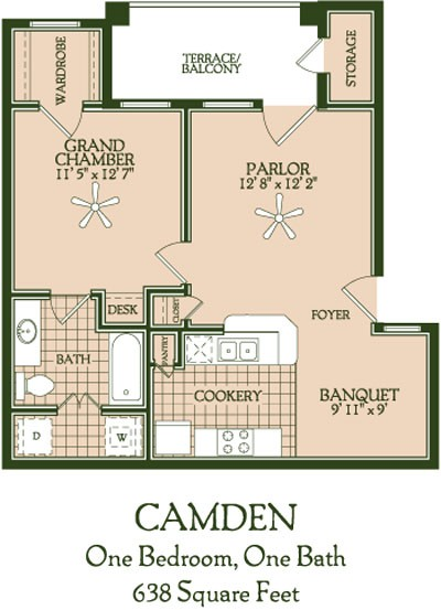 638 sq. ft. Camden floor plan