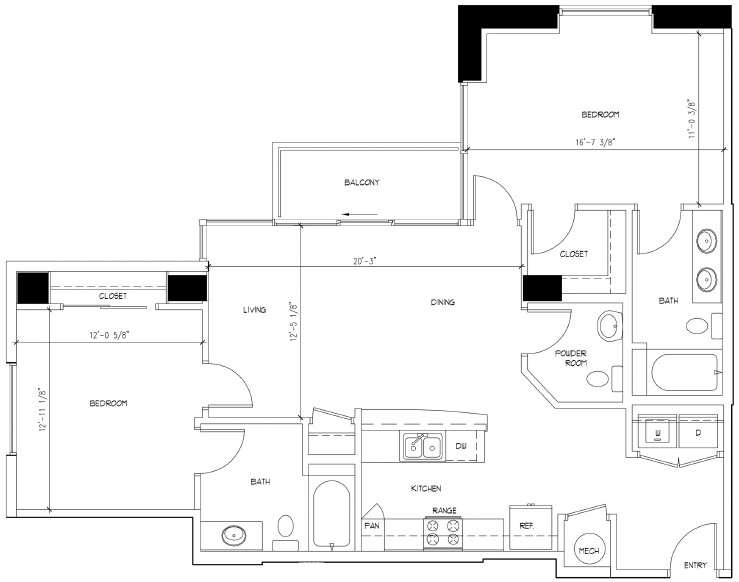 1,209 sq. ft. floor plan