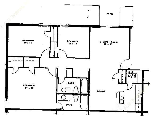 1,234 sq. ft. C1 floor plan