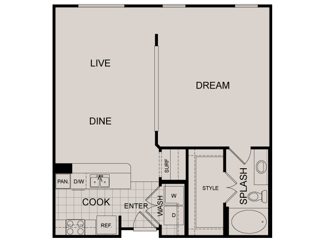 843 sq. ft. Fairfield floor plan
