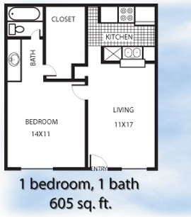 605 sq. ft. 1-1R floor plan