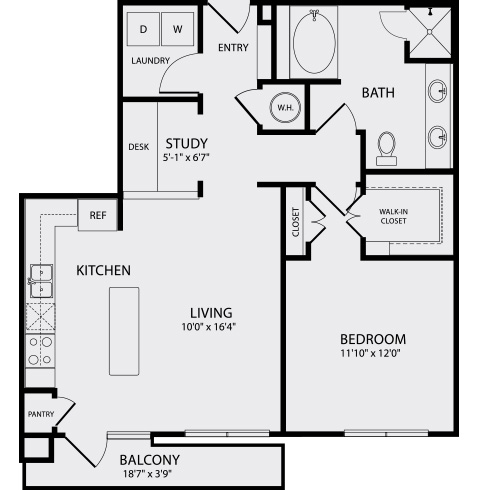 871 sq. ft. A3.1 floor plan