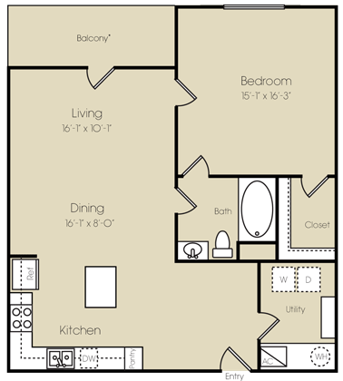 935 sq. ft. to 1,073 sq. ft. Greenwich floor plan