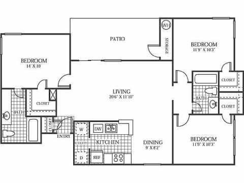 1,141 sq. ft. C1 floor plan