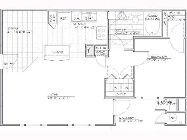 750 sq. ft. Miro/60 floor plan