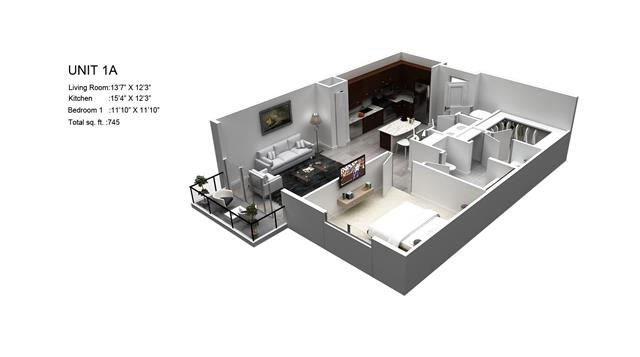 745 sq. ft. Bartlett/1A floor plan