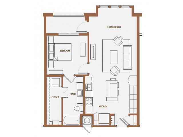 834 sq. ft. A2-5 floor plan