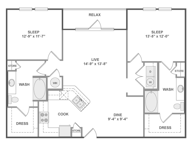 1,211 sq. ft. C6 floor plan