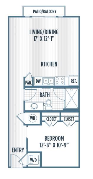 649 sq. ft. A1A floor plan