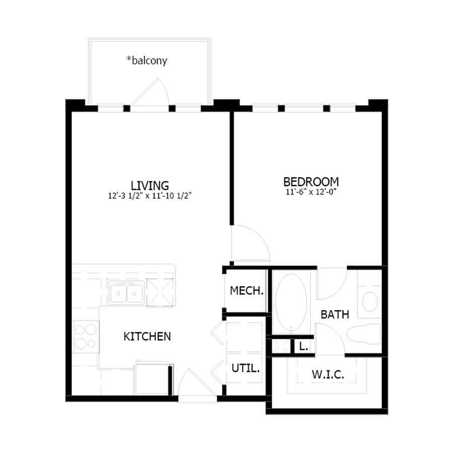 584 sq. ft. A1 floor plan