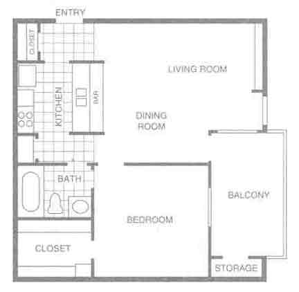 582 sq. ft. E2 floor plan