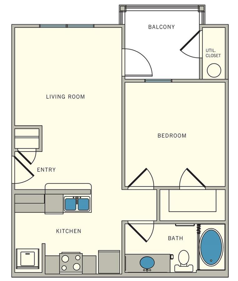 589 sq. ft. A1 floor plan