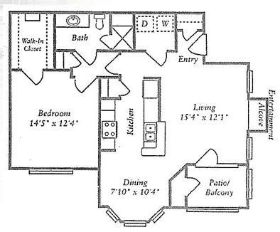 806 sq. ft. B floor plan