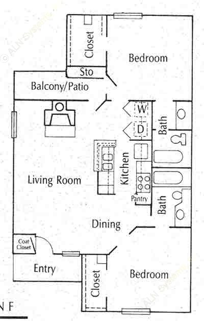 856 sq. ft. 22A floor plan