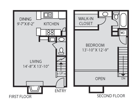797 sq. ft. A4 floor plan