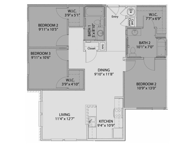 1,131 sq. ft. 60% floor plan