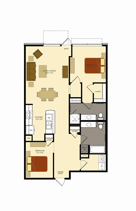 1,140 sq. ft. G1 floor plan