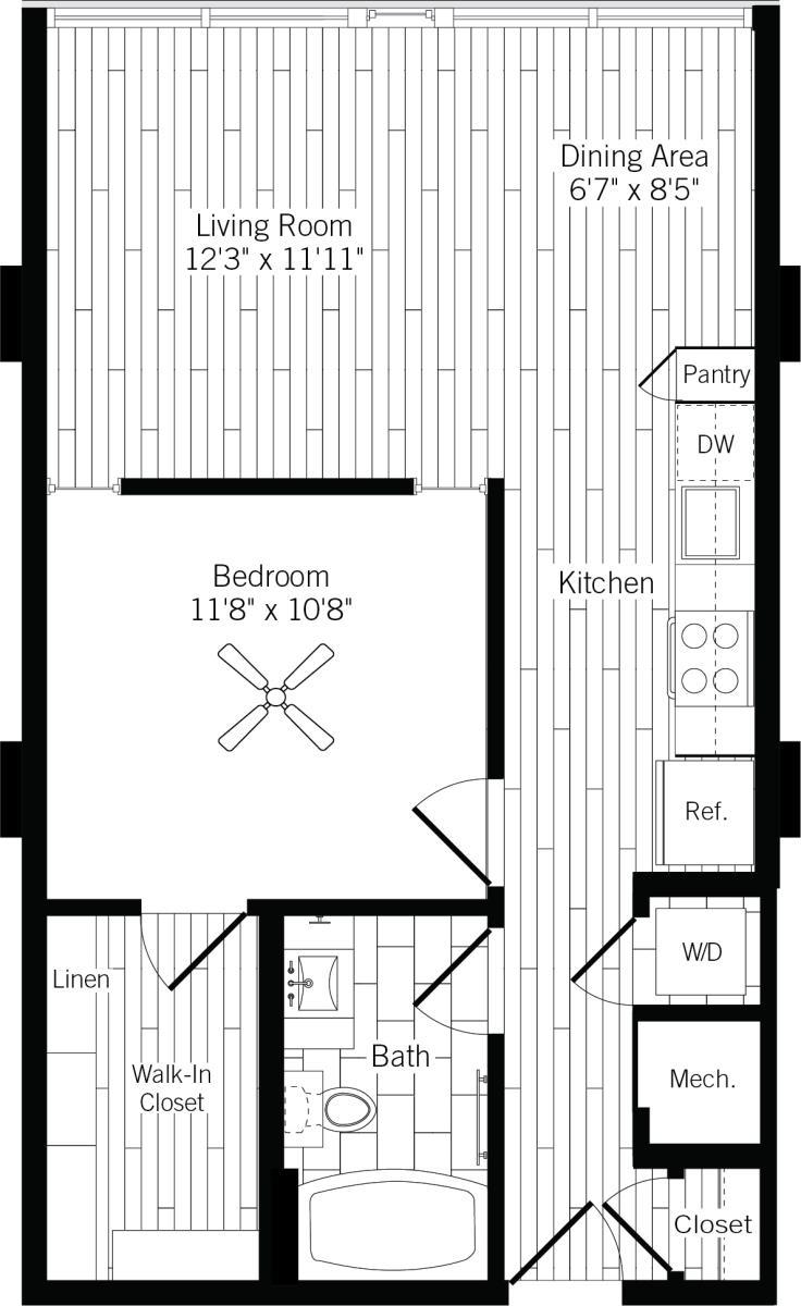 686 sq. ft. 1B-R floor plan