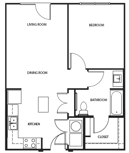 702 sq. ft. 1A1A floor plan