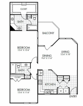 1,225 sq. ft. B1 floor plan