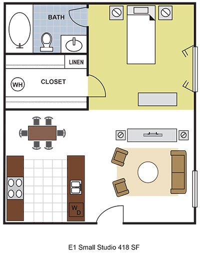 418 sq. ft. E1 floor plan