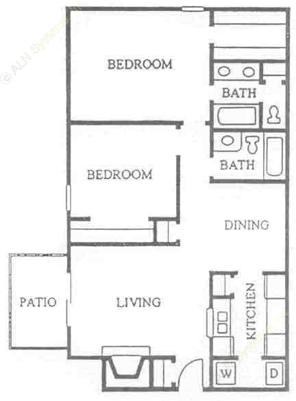 974 sq. ft. B-2 floor plan